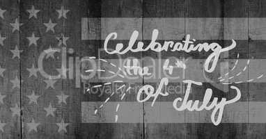 Light grey fourth of July party graphic against grey american flag on wood panel