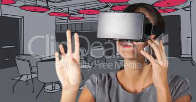 Business woman in virtual reality headset and on phones against 3D grey and pink hand drawn office