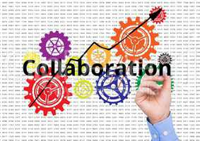Collaboration write on the screen with color cogs. Numbers background