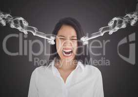 anger young businesswoman shouting with 3d steam on ears. Dark background