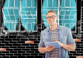 young happy on front of new office wall lines in negative (black back and white lines) with color de