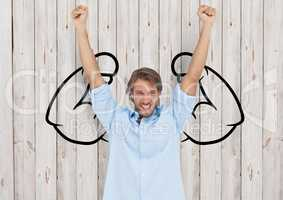 happy young businessman hands up in front of fists draw on wood wall