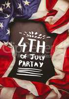 White fourth of July party graphic against chalkboard and american flag