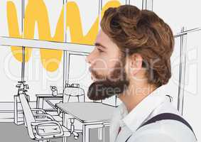 Millennial man with beard against 3D grey and yellow hand drawn office
