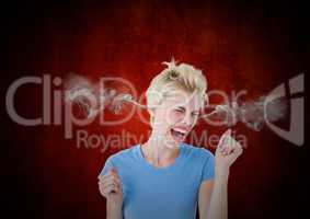 anger young woman with steam on ears. Black and red background