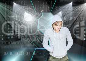 3D Hacker with hands in pocket standing on in front of digital background