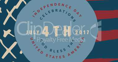 Fourth of July graphic in blue circle against hand drawn american flag
