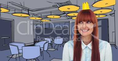 Millennial woman in paper crown against blue hand drawn office