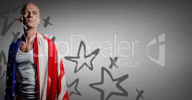 Man wrapped in american flag against grey background with hand drawn star pattern