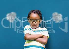 anger boy with hands folded and 3D steam on ears. blue background
