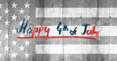 Red and blue fourth of July graphic against grey american flag on wood panel