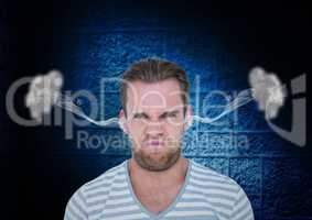 anger young man with steam on ears. Black and blue  background