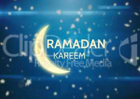 Yellow ramadan graphic against blue background with stars