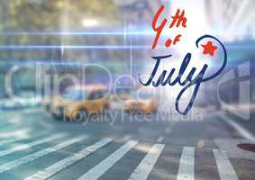 Fourth of July graphic against blurry street scene with flares