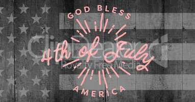 Pink fourth of July graphic against grey american flag on wood panel