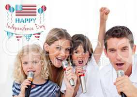 Happy family singing for independence day