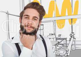 Millennial man chin on hand against 3D grey and yellow hand drawn office