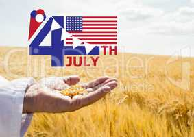 Fourth of July graphic with flags and ice cream against cornfield and hand holding corn