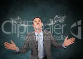 anger young businessman with 3D steam on ears. Black background