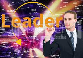 Businessman writing LEADER on the screen. web market background.