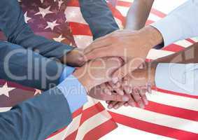 Hands put together above 3d american flag