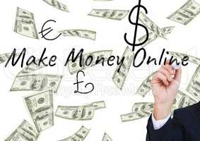 hand writing MAKE MONEY ONLINE in the screen with money icons. Banknote background