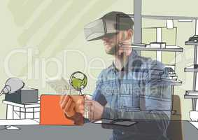 man with 3D glasses and tablet overlap with 3D new office lines.