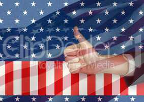 Part of business man with thumb up against american flag