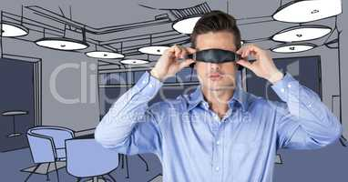 Business man in virtual reality headset against 3D blue hand drawn office