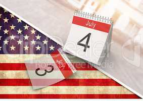 4th of July calendar against american flag
