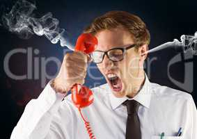 anger young man with steam on ears shouting to the phone. Black and blue background