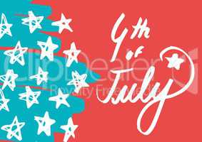 White fourth of July graphic against hand drawn star pattern and red background