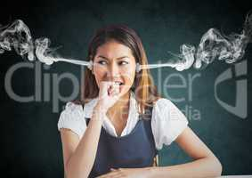 anger young woman with 3D steam on ears and hand on the mouth. Black and grey background