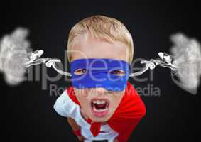 anger boy dressed like superhero with steam on ears. Black  background