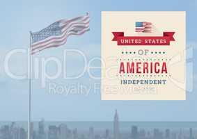 Independence day design against fluttering flag in background