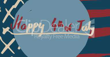 Red and cream fourth of July graphic in blue circle against hand drawn american flag