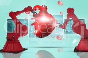 Composite 3d image of red robot arm with claw