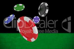 Composite image of vector image of 3d gambling chips