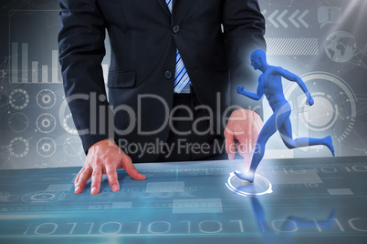 Composite 3d image of midsection of businessman pretending to use invisible object