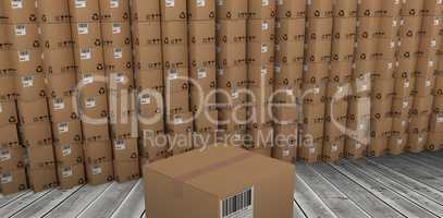 Composite image of packed brown cardboard box