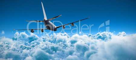 Composite 3d image of graphic airplane