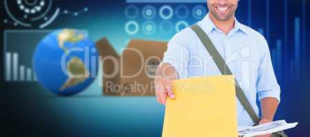 Composite 3d image of delivery man with clipboard asking for signature