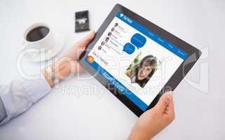 Man using 3d tablet pc