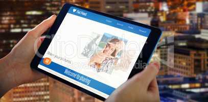 Composite 3d image of hands holding tablet