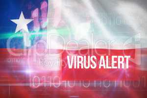 Composite 3d image of virus alert against blue technology design with binary code