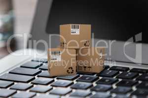 Composite 3d image of illustration of cardboard boxes