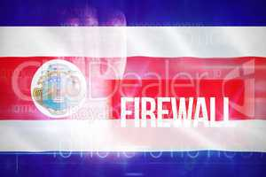 Composite 3d image of firewall against blue technology design with binary code