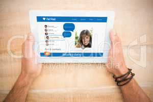 Hands holding blank screen 3d tablet