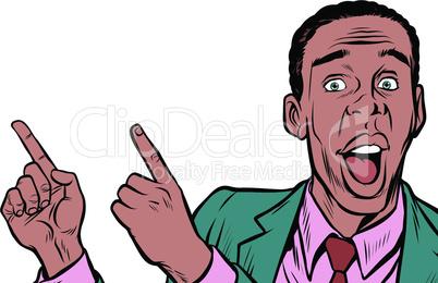 African American businessman indicates