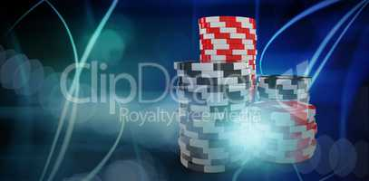 Composite 3d image of computer graphic image of gambling chips